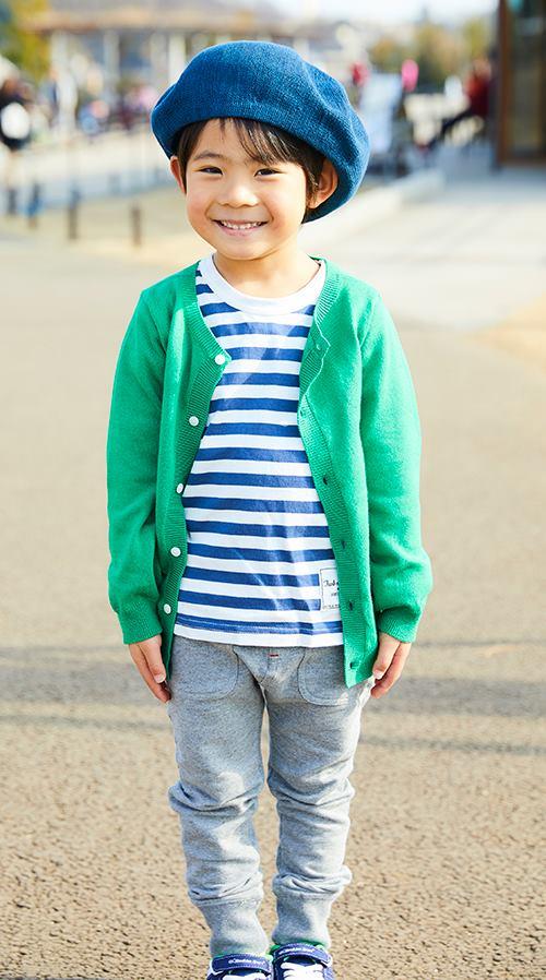 kidsははボーダーTシャツを選んで爽やかに☆<br /> ベレー帽で抜け感を演出!&#8221; /></p> <p class=