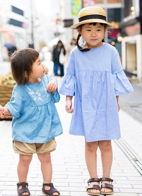 kidsもブルーのトーンを合わせて、親子のテンションを仲良く統一♡