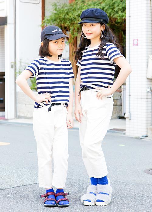 kidsはボーダーTシャツ×白パンツの爽やかなマリンコーデを姉妹で完コピ♡