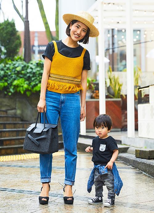 男の子の息子に合わせてブラックリンク♡ ママはちょっぴり女性らしさをプラス!