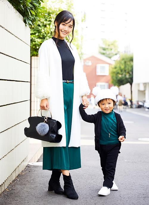 袖のふわふわと息子のニット帽のふわふわがポイント♡
