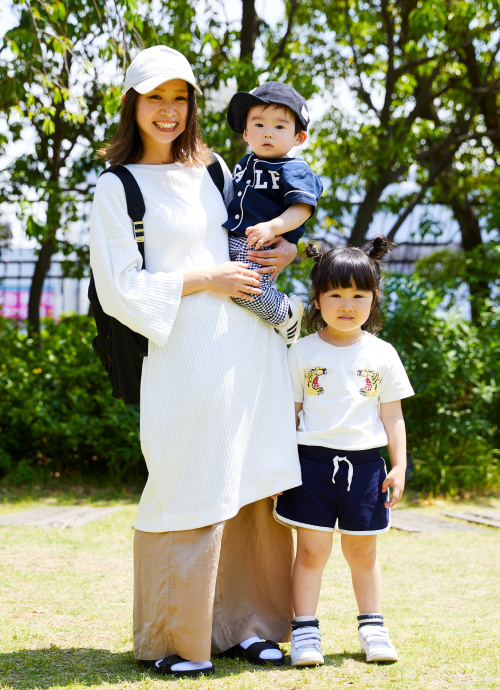 キッズ→白×紺♡ ママ→白×ベージュ♡