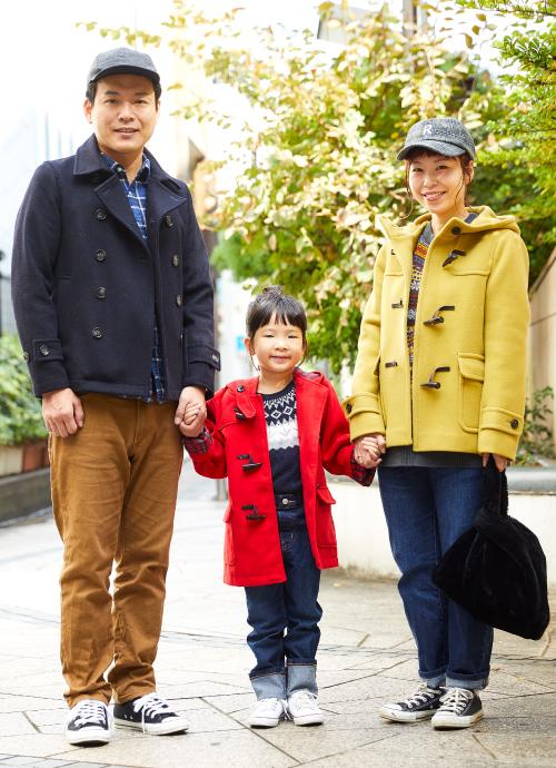 あえて家族3人 バラバラの色のカラーコート☆
