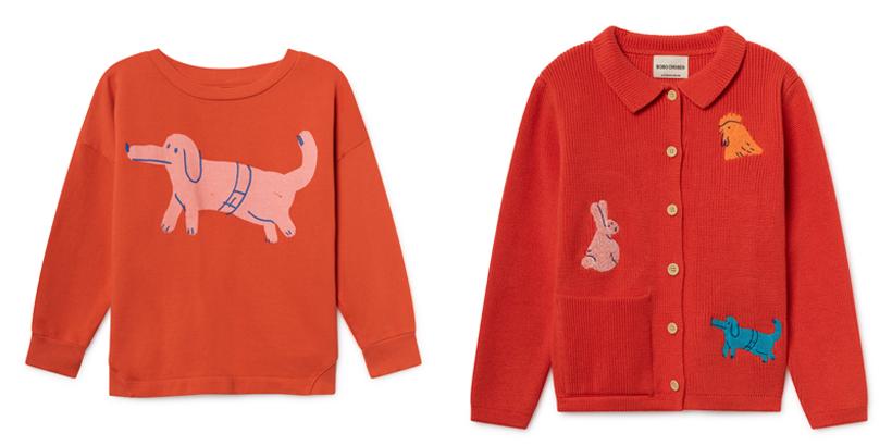 動物モチーフのTシャツとカーディガン