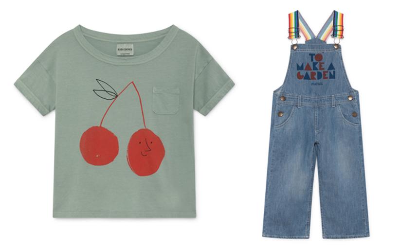 スマイルチェリーのTシャツと、デニムのオーバーオール