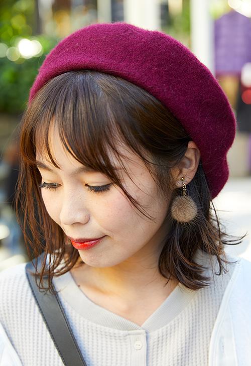 ボールドカラーのベレー帽