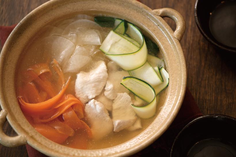 鶏むね肉と薄切り野菜鍋_2